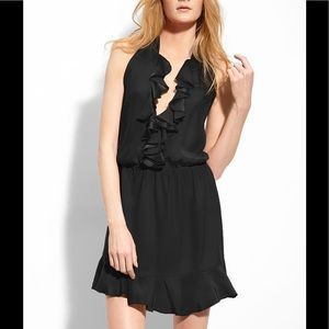 Amanda Uprichard black silk ruffle halter dress